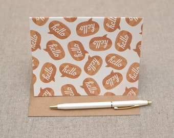 Folded Note Cards -Fun Note Cards - Set of Folded Note Cards - Hello Note Cards  - Hello Cards - Notecards - Fun Notecard