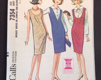 McCall's 1964 Vintage Sewing Pattern 7354 Dress Jumper Blouse Size 12 Bust 32