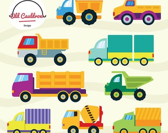 Trucks clipart, construction clipart, cars clipart, dump truck clipart, vector graphics, digital images, vector clipart CL039