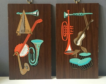 Vintage Mid Century Modern Hand-painted Beatnik Jazz Instruments Wall Hanging Pair