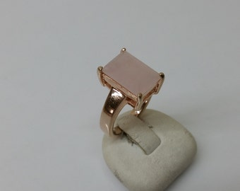 Rosé Rose Quartz gold plated 50s ring Silver 925 old SR675