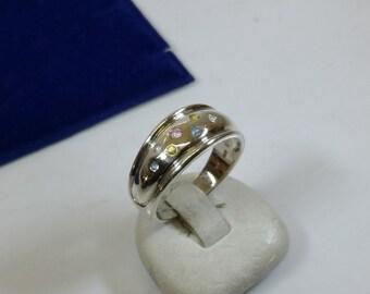 Nostalgic ring Silver 925 crystals multi colored SR611
