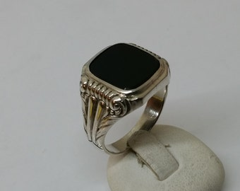 835 silver ring with Onyx 20.5 mm, size 10.6 silver ring SR444