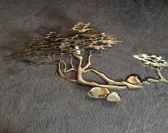Vintage, Bijan, Brass Bonsai and Pebble Wall Sculpture