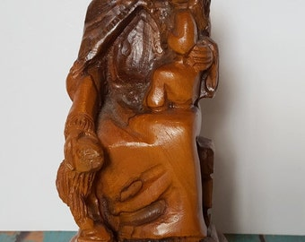 Vintage Carved Olive Wood Figurine from Bethlahem, Israel Jesus Sheep Statue Souvenir - The Lord is my Shepherd - Psalm 23