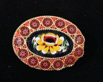 Mosaic Brooch, Mosaic Floral Brooch, Yellow Flower Brooch, Pin, Art Glass Pin