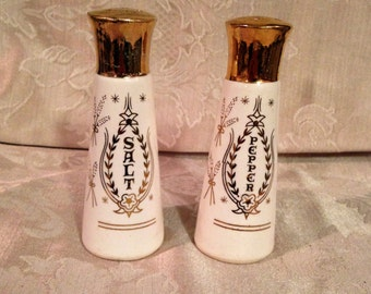 Say Grace Salt and Pepper Shakers, Ivory and Gold Salt and Pepper Shakers, Ivory Salt and Pepper Shakers