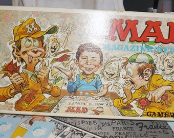 Vintage (c.1979) MAD Magazine board game published by Parker Brothers.  English/French Canadian version. Incomplete (see notes below)