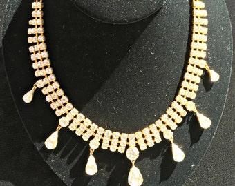 Austrian Teardrop Rhinestone Necklace,Vintage Austrian Crystal Necklace, Vintage Austrian Rhinestone Teardrops Gold Tone Setting