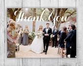 Postcard Thank You Card, Printable Digital File Thank You Post Cards, Wedding Photo Thank You Card Digital