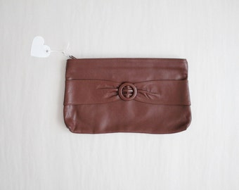 brown leather clutch / 1970s clutch / clutch bag