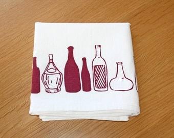 100% Cotton Tea Towel - Screen Printed Bottles Pattern in Burgundy