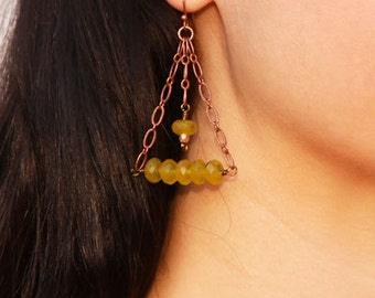 Copper and Jade Earrings