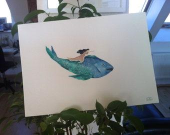 Flying away  /  Original Watercolor