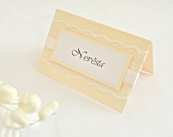 Lace wedding place cards, ivory place cards, wedding place cards, lace seating cards, place cards,seating cards, placement cards