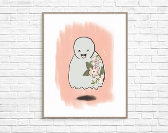 Floral Ghost Art Print, Halloween Printable, Ghost Printable, Halloween Wall Decor, Halloween Illustration, Ghost Illustration