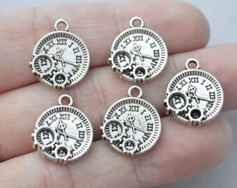 5 Pcs Clock Charms Watch Charms Antique Silver Tone 14x16mm - YD1126