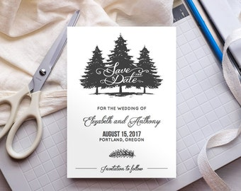 Rustic Save the Date Template ANY COLOR - Cambria - Edit Yourself in Word