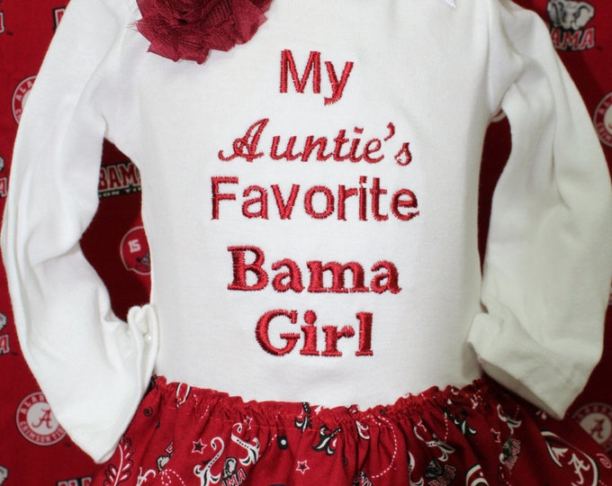 Alabama baby girl bodysuit with attached skirt,Alabama Crimson Tide, bodysuit,Alabama skirt,Alabama headband,Bama girl bodysuit,Bama gift