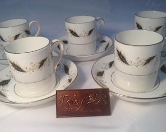 5 x Foley Black & Gold Espresso Cups Vintage Bone China