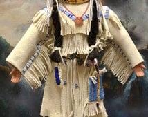 Native American, Plains Indian Doll Handmade, Hand beaded, with Beaded Moccasins, Leggins, Dress, Choker, Hair ties , Bone Beaded Belt.