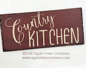 COUNTRY KITCHEN Wood Sign; Distressed Barn Red & Vintage White; Kitchen sign; Country Sign; Rustic Country Primitive Farmhouse Antique Decor