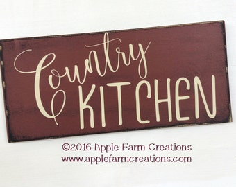 Country Kitchen Sign Wood, Barn Red, Antique White, Distressed Wood Sign, Farmhouse Wooden Signs, Country Kitchen Wall Decor, Farmhouse Sign