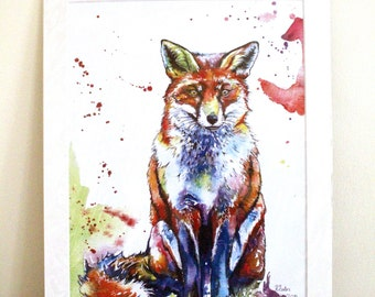 Oliver The Fox Limited Edition A3 Painting Watercolour Colour Print
