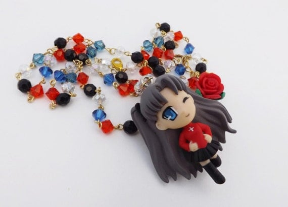 Fate Stay Night Unlimted Blade Works Rin Tohsaka Kawaii Style Crystal Necklace Magic Anime Gaming cosplay jewelry