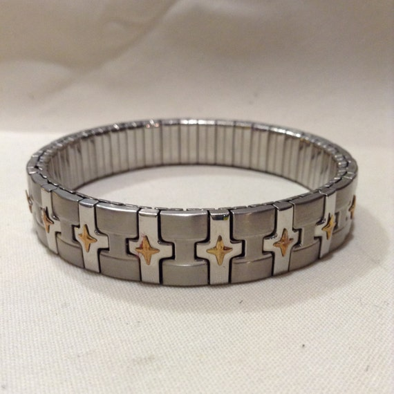 vintage milor 18k and stainless steel expandable bracelet