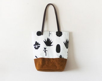 Succulents waxed canvas tote bag with leather handle