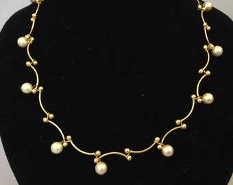 Carolee Goldtone Vine and Faux Pearl Necklace
