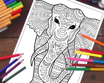 Elephant Coloring Pages Animals Page Printable Adult Sheets