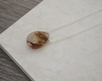 Cherry Volcano Quartz Necklace • Sterling Silver Multi-Coloured Pink Quartz Teardrop Necklace • One of a Kind • UK Seller