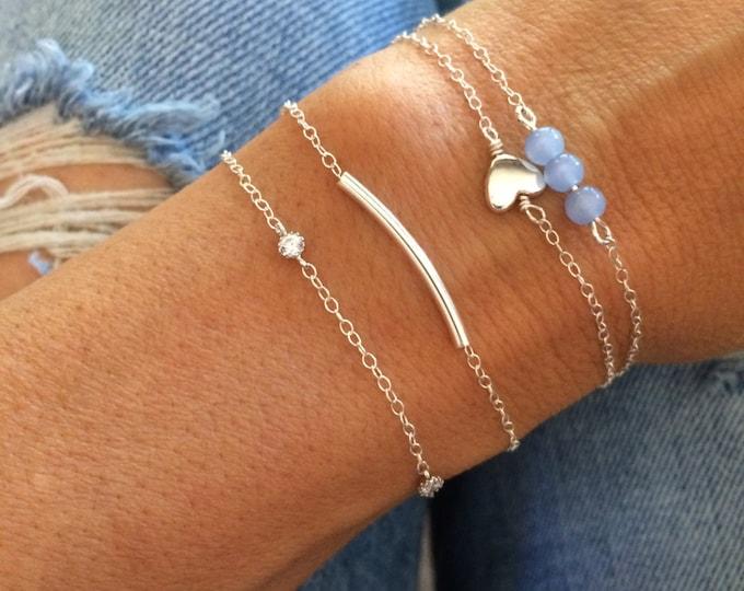 Sterling Silver Bracelet Set Beaded Bracelet Stack Anklet Set Blue Bead Clothing Gift Chain Bridal Something Blue Gift for Her Bridesmaid