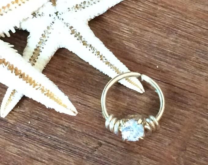 Cartilage earring Septum Ring Diamond CZ Earring Hoop Endless Hoop Earring Tiny Hoop Tragus Earring Helix Earring Nose Ring Hex Piercing