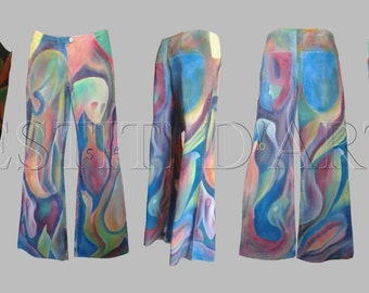 HAND PAINTED JEANS plus size clothes for womens clothing for mens clothing mens jeans for womens harem pants palazzo pants bell bottom jeans