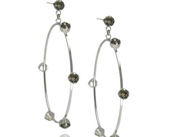 Bridal Earrings Swarovski Crystal Earrings Hollow Earrings Hoop Earrings Everyday Earrings Silver Earrings Swarovski Earrings
