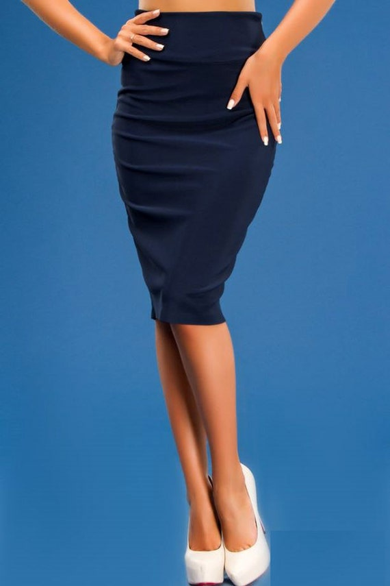 navy blue pencil skirt midi skirt navy by