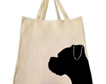 Canvas Tote Bag, Pet Tote Bag, Boxer Dog Silhouette, Gifts for Dog Lovers, Cotton Shopping Handbag, Cute Custom Bags, Made by Tote Tails