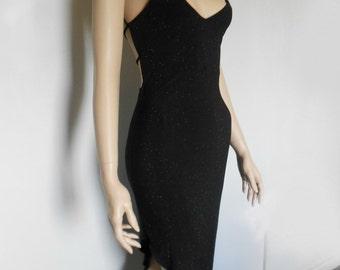 90s Vtg Black Plunge Neck Gold Glitter Speckle Caged Back Asymmetrical Goth Grunge Glam Dress Size Small-Medium