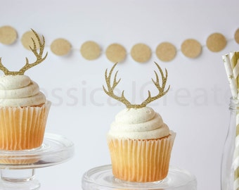 Antler Cupcake Toppers, Deer Cupcake Topper, Rustic Party Decorations, Cupcake Toppers, Gold Party Decor, Qty 12