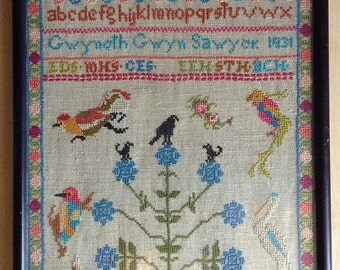 Vintage Cross Stitch Embroidered Sampler 1931 Wenatchee Washington