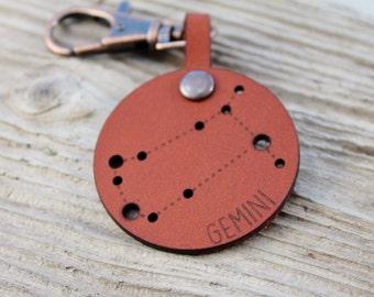 Gemini Constellation Boho Leather Keychain Keyring - May June Birthday Stars Astrology Horoscope star sign Bag Charm