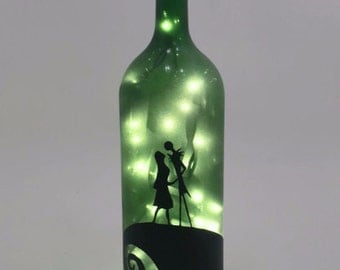 Nightmare Before Christmas Wine Bottle Lamp / Jack and Sally / Birthday Gift