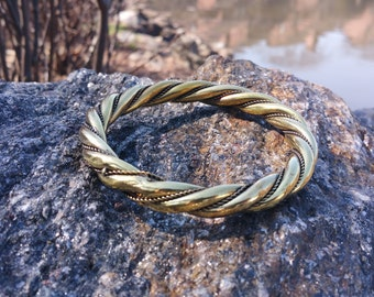 Brass Metal Twisted Bangle - Gold / Silver Antique Finish