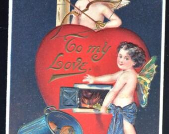 Valentine Postcard German Embossed Heart Cupid Fairy Child
