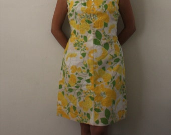 Vintage 1960s dress/ yellow and green floral dress