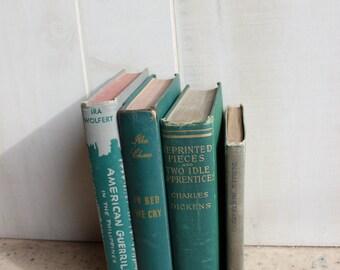 Vintage Books GREEN BOOKSHELF DECOR