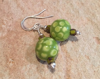 Green lampwork glass drop earrings, Picasso Czech glass seed bead earrings, dangle earrings, Hill Tribe silver drop earrings, gift for her